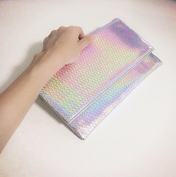 Holographic leather bag with chain strap (women modern minimal handbag silver metallic / foldover leather clutch / shoulder cosmetic pouch)