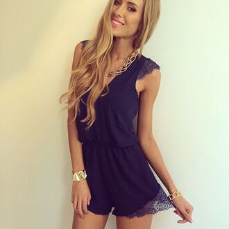 jumpsuit dress dark blue lace short blue romper make-up