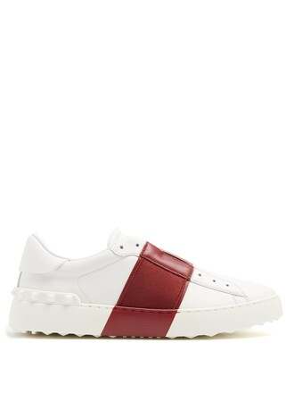 top leather white burgundy