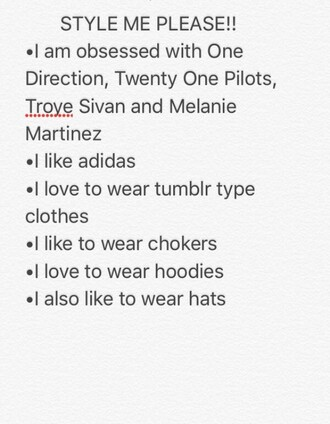 hat style me troye sivan black white one direction twenty one pilots melanie martinez adidas tumblr clothes choker necklace hoodie cropped hoodie tumblr outfit