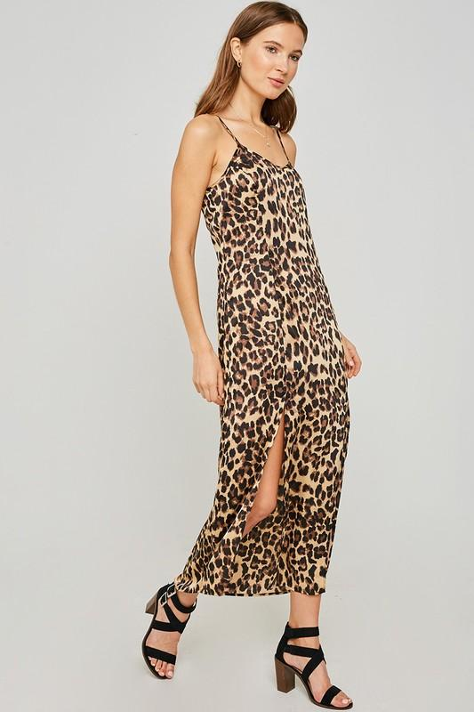 Leopard Slip Midi Dress