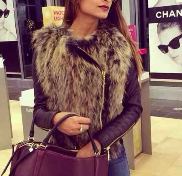 Jacket: fur, bag, leather, coat, fur vest, vest, raccoon, fluffy ...