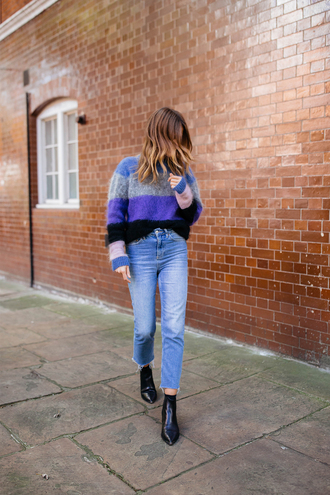 sweater stripes striped sweater denim jeans blue jeans boots ankle boots black boots