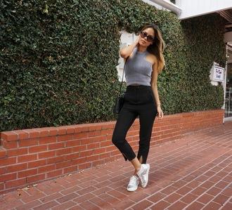croptopia blogger top pants shoes bag sunglasses ribbed top grey top crop tops slit pants black pants sneakers silver sneakers cat eye black bag shoulder bag
