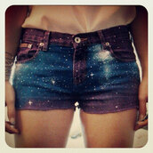 shorts,galaxy print,galaxy shorts,jeans,galaxy high waisted shorts,teenagers,outfit,magic,cute shorts,purple,blue,black,white,cuttoff,vans warped tour