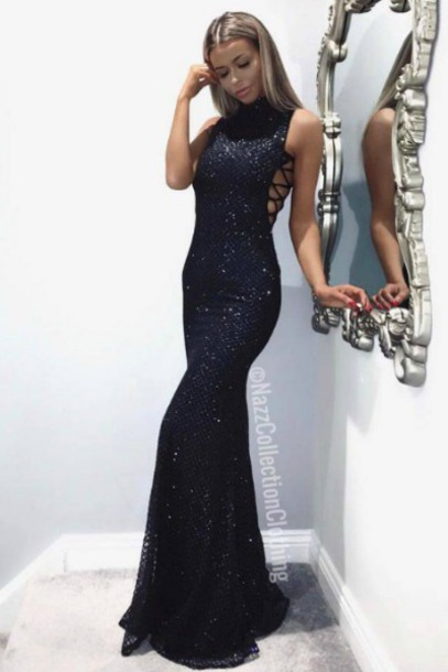 dress sparkly dress black dress maxi dress prom dress side boob