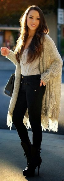 black jeans sweater cardigan oversized cardigan cute winter