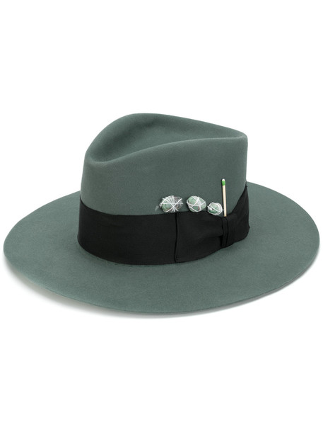 embellished fedora green hat
