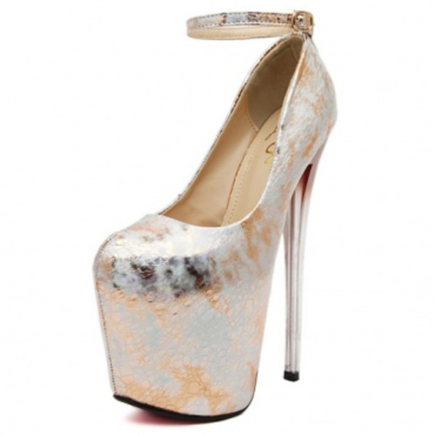 225e815e89328d shoes fashion round closed toe floral print stiletto super high heel silver  pu ankle strap pumps