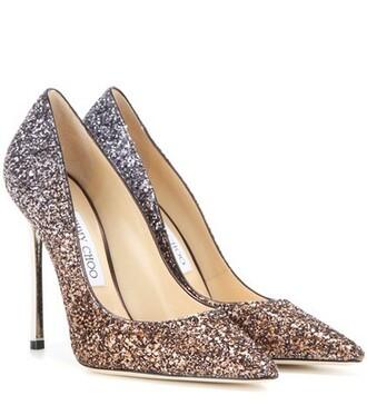 glitter pumps brown shoes