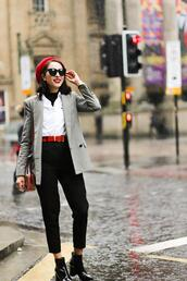 preppy fashionist,blogger,jacket,sweater,shirt,belt,pants,shoes,bag,sunglasses,fall outfits,ankle boots,blazer