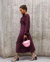 dress,midi dress,long sleeve dress,wrap dress,handbag,snake print,high heels boots,earrings
