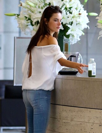 blouse off the shoulder alessandra ambrosio jeans