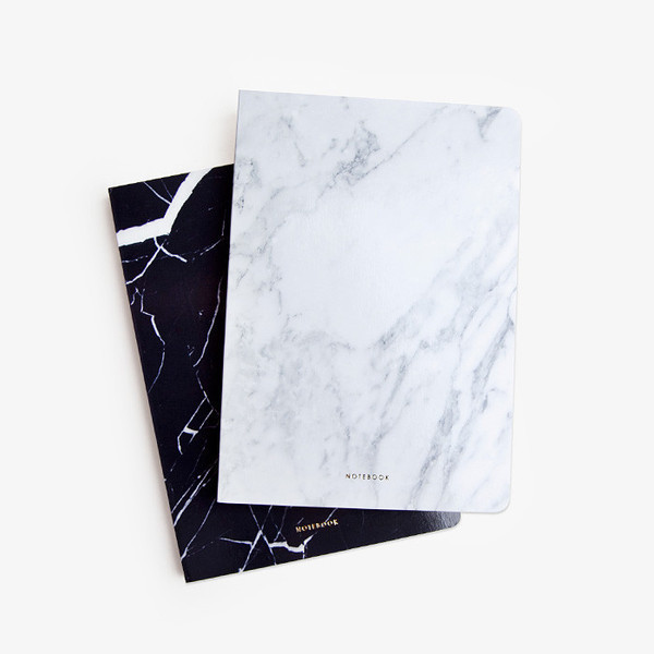 marble marble print white black notebook desk office supplies stationary