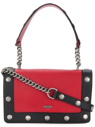 studded women bag shoulder bag leather red
