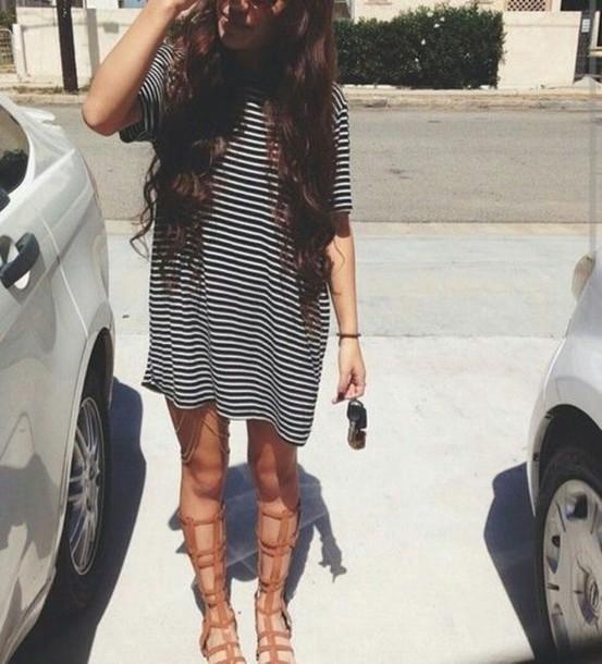 shoes stripes oversized t shirt t shirt dress
