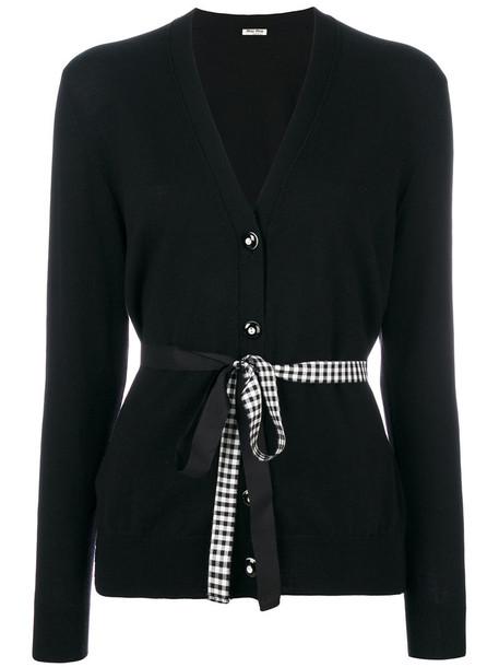 Miu Miu - belted cardigan - women - Virgin Wool - 38, Black, Virgin Wool