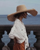 dress,hat,blouse,white,white blouse,button up,long sleeves,orange,pants,long pants,high waisted,pockets,high waisted pants,oversized,oversized hat,set,elegant,casual