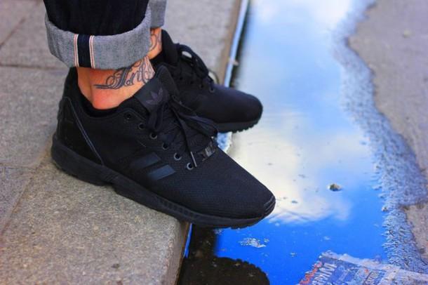 shoes black adidas zx flux