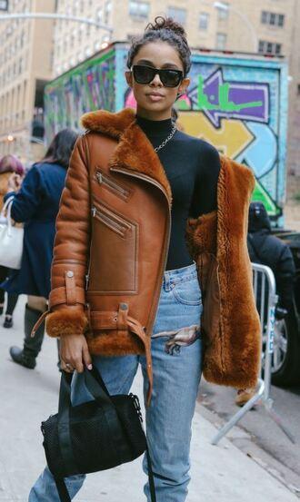 jacket fur jacket ny fashion week 2018 streetstyle jeans top