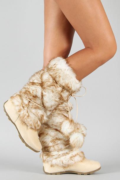 e515fc79fef2de shoes fur boots pom pom boots eskimo boots boots cute boots boots on sale  eskimo