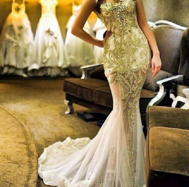 White Wedding Gown Gold: Dress: Prom Dress, Ball Gown Dress, Gold, White Dress