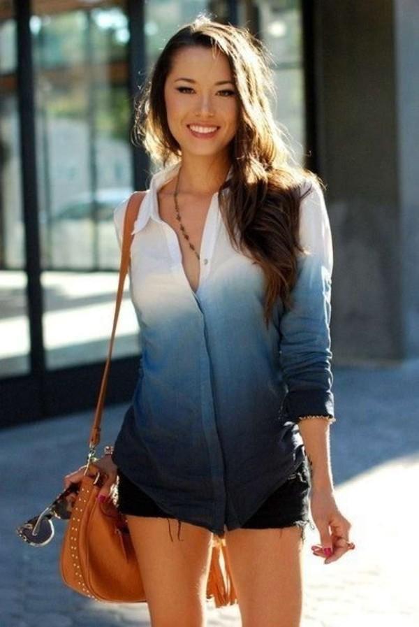 shirt blouse ombre blue cute button up bag leather bag brown leather bag brown bag ombre shirt t-shirt