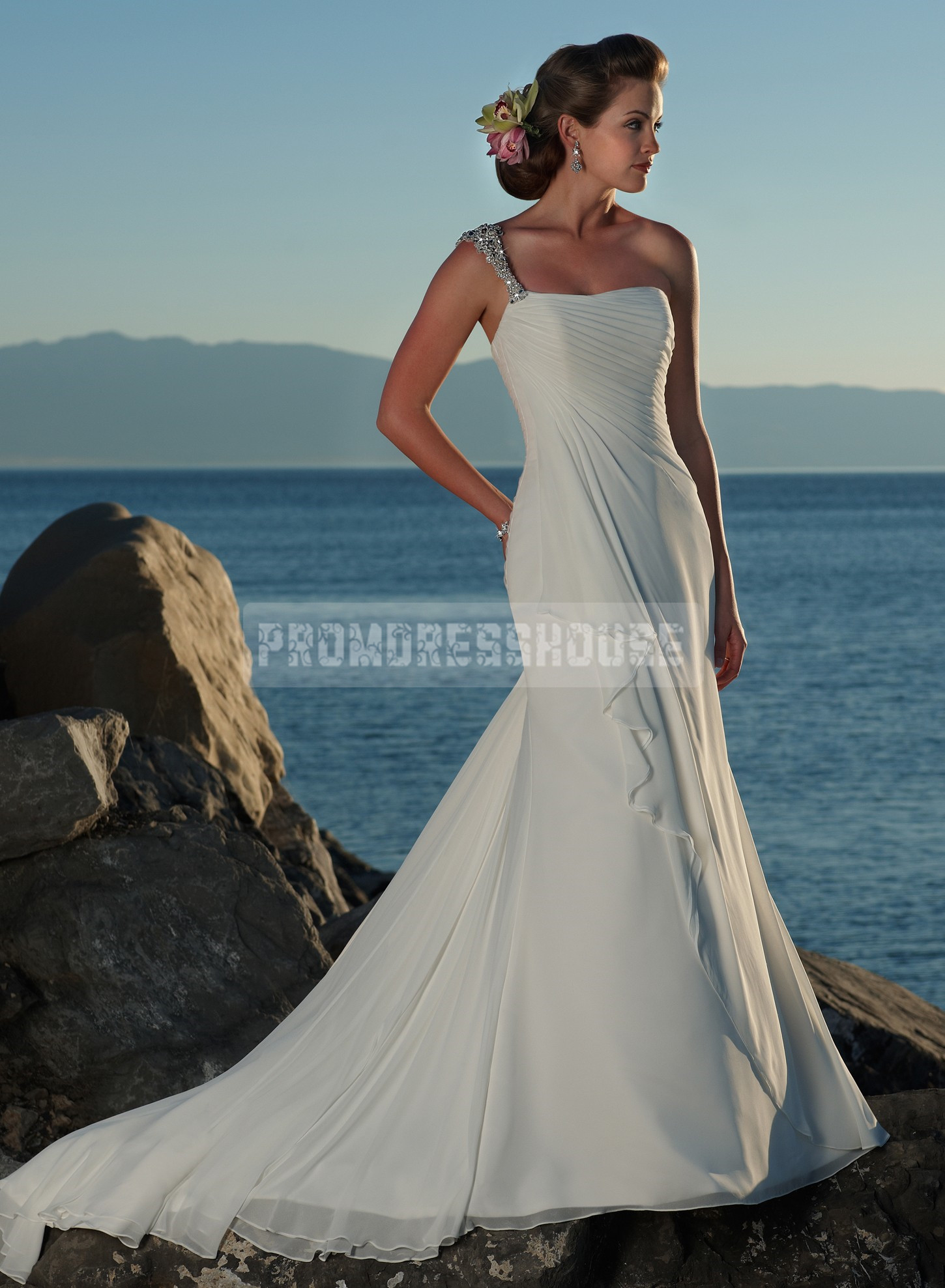 Sleeveless Sheath Chiffon One Shoulder Grecian Wedding Dress - Promdresshouse.com