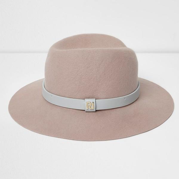 d474f866b River Island Light pink wide brim fedora hat