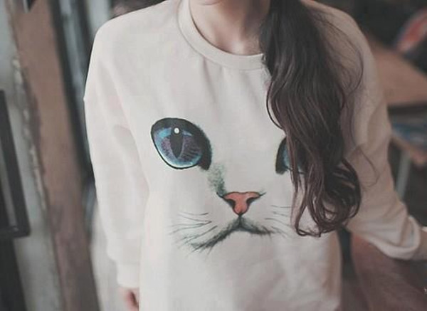 sweater sweat white jumper eyes cats cats long sleeves face swag cat eye sweatshirt oversized sweater kitty sweater