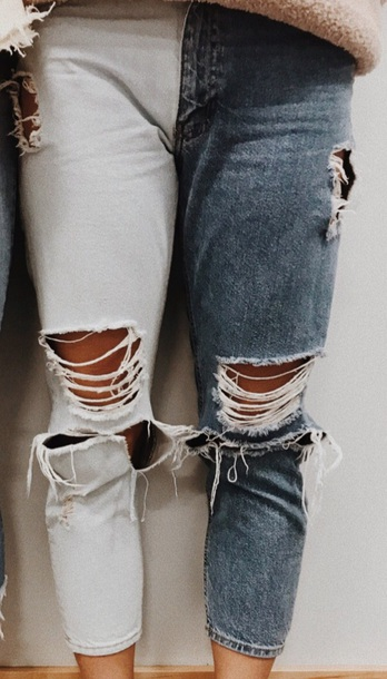 jeans two toned ripped