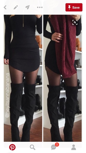 shoes over the knee boots suede black wedges