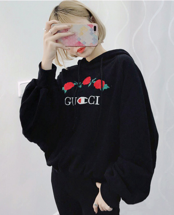 Sweater Gucci Logo Black Hoodie Floral Roses Casual