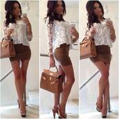 skirt,blouse,mini skirt,brown,white,crop tops,sexy,summer outfits,big bag,shoes,bag