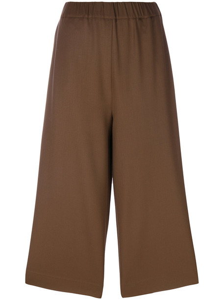 P.A.R.O.S.H. loose cropped women spandex fit wool brown pants