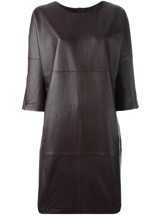 dress leather dress women leather brown