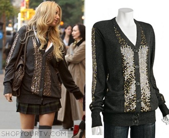 cardigan gold grey sweater serena van der woodsen blake lively gossip girl gold sequins
