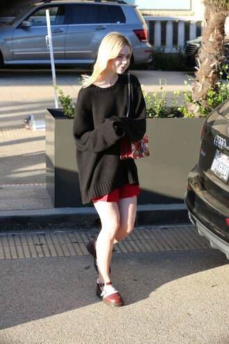 skirt sweater elle fanning oversized sweater