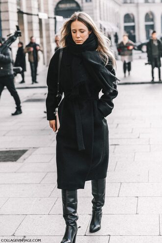 coat tumblr fashion week 2017 streetstyle black coat scarf boots black boots high heels boots winter outfits winter look all black everything