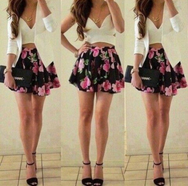 skirt black skirt floral skirt white white top blazer white blazer clothes outfit