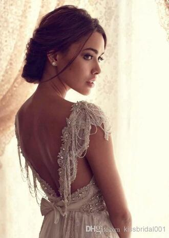 crystal quartz 2015 2014 vintage sheer wedding dress lace bridal gowns