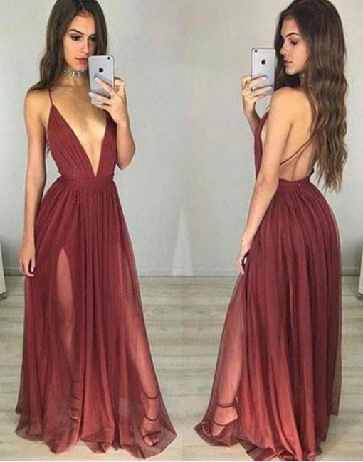 4a43f2a3357f simple v neck tulle burgundy long prom dress, evening dress - 24prom