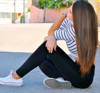 shirt striped shirt black white leggings coverse low top pants
