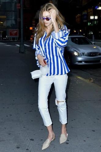 jeans blouse stripes striped shirt gigi hadid flats streetstyle model off-duty
