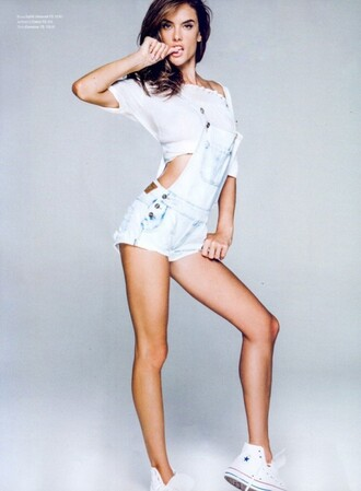 shorts top short overalls overalls alessandra ambrosio editorial sneakers