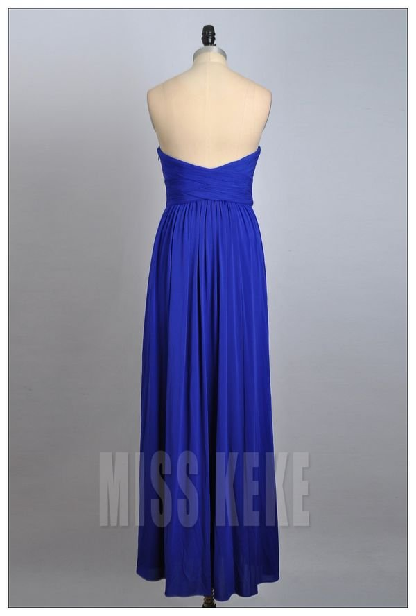 wedding dresses free shipping Picture - More Detailed Picture about Long blue/red draped  strapless silk chiffon evening dress/wedding dress,free shipping Picture in Bridesmaid Dresses from MISSKEKE DRESS BOUTIQUE