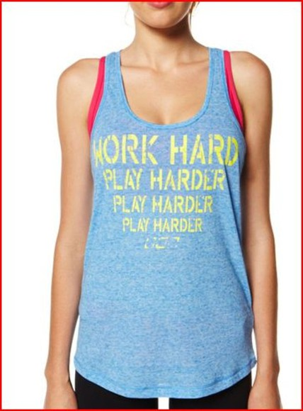 work tank top play grey text hard work out