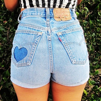 shorts cute pretty heart summer spring blue black white jeans pants sexy girly instagram fashion green high waisted shorts denim cut-out cute outfits summer outfits tumblr style