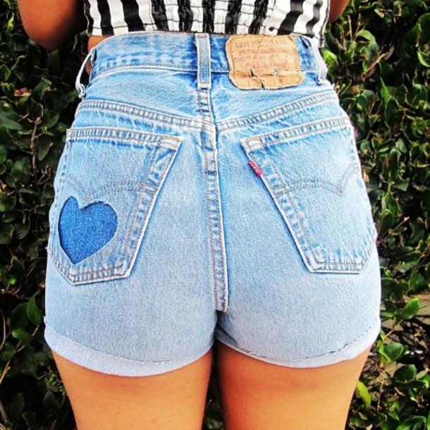 shorts, cute, pretty, heart, summer, spring, blue, black ... Black Shorts Tumblr