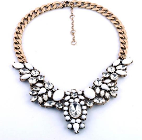 Vintage white gem clear rhinestone flower bib necklace wholesale